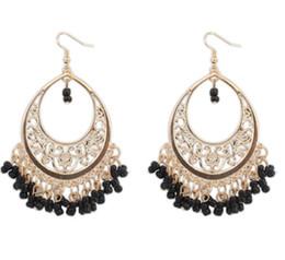 Wholesale Cheap Fashion Hoop Earrings - Bohemia Style Hollow Hoop Earrings Women Fashion Seed Beads Tassel Earring Colorful Cheap Hook Earrings Red Beige Green Black Carved Earring