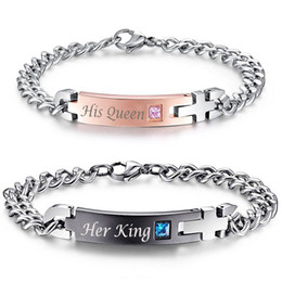 "id link chain bracelet Promo Codes - Unique Gift for Lover ""His Queen""""Her King "" Couple Bracelets Stainless Steel Bracelets For Women Men Jewelry"