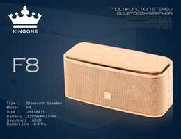 Wholesale Multifunction Metal - Kingone F8 Multifunction Stereo Bluetooth Speaker bass subwoofer with TF Card player,Hands-free Micphone Portable Metal F8 touch Loudspeaker