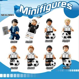 Wholesale Gifts Germany - New 8pcs set KL9001 Action Minifigures Sport Germany Football Team Coach Goalkeeper Player Building Blocks Puzzle Kids DIY Toys Gift