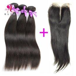 Wholesale Derun Brazilian - Peruvian Straight Hair Extensions With Lace Frontal Closure Black Color Peruvian Straight Derun Hair With Top Lace Closures 3 Bundles