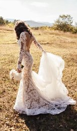 2019 alças de strass sereia casamento vestido Mangas compridas Sereia Lace Ilusão 2018 Berta Vestidos de Casamento Sheer Neck Vestidos De Noiva Sexy Vestidos de Casamento Do Vintage