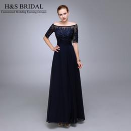 Immagine reale Abiti da sera blu navy 2016 mezza manica in chiffon di perline formale madre della sposa sposo dresse appliqued pizzo abiti formali da