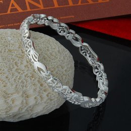 Wholesale Flower Girl Bangles - Factory direct wholesale busy girl bangle 925 Sterling Silver Bangle Bracelet with angle closed hollow flower fashion silver bracelet