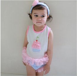 Wholesale Girls Clothing Cupcake - Sleeveless Cupcake Tops + Tulle Shorts + Headband Babies Girl Romper Suit Cotton Kids Clothes Baby Girls 3-piece Rompers Jumpsuit K7393
