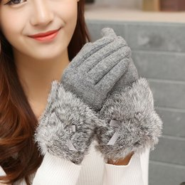 Wholesale Korea Gloves Style - Korea Style Cute Fashion Women Soft Touch Screen Gloves Autumn Winter Warm Faux Rabbit Fur Gloves Mittens Christmas Gift ST6109