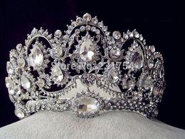 Tiara de cristal quinceanera on-line-Atacado-Enorme De Cristal Tiara Do Vintage Pavão Acessórios Para o Cabelo De Casamento Quinceanera Tiaras E Coroas Pageant Diamante Tiara