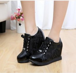 Wholesale Elevator Sneakers - new flowers leather Hidden Wedge Heels Casual shoes Women's Elevator High-heels Sneakers for Free shipping
