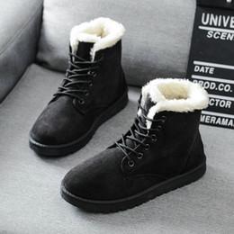Wholesale Cute Warm Ups - 2016 women winter boots women winter shoes flat heel ankle boots casual cute warm shoes fashion snow boots women's boots