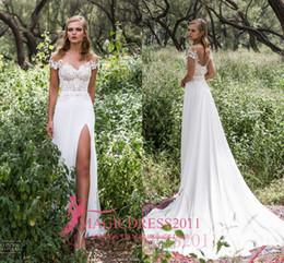 Wholesale Chiffon Embellishments - Limor Rosen 2017 Bridal Gowns Heavy Embellishment Lace Romantic Sheath Beach Boho Vintage Garden High Split Backless Wedding Dresses