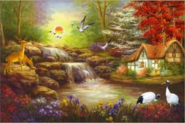 Wholesale 12x18 Canvas Frame - Thomas Kinkade Landscape Oil Painting Reproduction High Quality Giclee Print on Canvas Modern Home Art Decor TK036