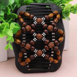 Wholesale Double Magic Hair Clips - Brand New Best Easy Magic Wood Beads Double Hair Comb Clip 1 Pc Free Shipping[GE05141]