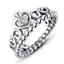 Wholesale Authentic Pandora Crown - 100% 925 sterling sliver pandora ring for Valentine's Day princess crown pandora ring authentic diamond rings pandora jewelry AAA zirco