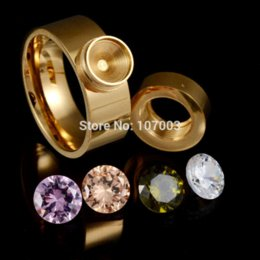 Wholesale Steel Flash Drive - Fashion Brand 4 Color Stainless Steel CZ Stone Interchangeable Rings 18K Cubic Zirconia Ring Cheap ring usb flash drive