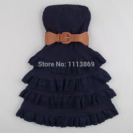 Wholesale Students Cotton Bra - Wholesale- Olso knitting summer dress 2014 new Girl students cotton stitching significantly thin cake dress with belt sleeveless bra dress