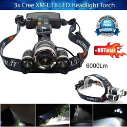 Wholesale Ac Accessories - Latest LED Headlight Torch 6000Lm 3x Cree XM-L T6 Headlamp Head Light Lamp accessories AC Charger + Car Charger