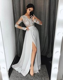 Wholesale Long Gray Lace Dresses - Sexy 2018 Gray A Line Prom Dresses Sheer V Neck Long Sleeves Pleats Lace Applique High Side Split Chiffon Formal Evening Party Gowns