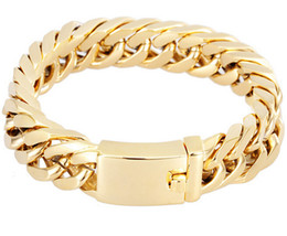 "Wholesale gold ring s - BRAND NEW HIGH QUALITY 95G HEAVY MEN`S JEWELRY GIFT BIKER 316L STAINLESS STEEL CUBAN CURB LINK GOLD PLATED BRACELET (8.5""x 14mm)"