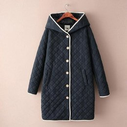 Wholesale Cheapest Women Long Winter Coat - Cheapest Coats Japanese Long Hoodie Coat Jacket New Winter Forest Diamond Embroidery Loose Cotton Dress Navy