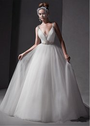 Wholesale Sexy Glamourous Wedding Dresses - Glamourous A Line 2016 Wedding Dresses Spaghetti Straps Crystals Beaded Ruched Backless Sexy Bridal Gowns Cheap Vestidos De Noiva