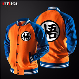 Wholesale Dragon Ball Coat - Wholesale- New Japanese Anime Dragon Ball Goku Varsity Jacket 2017 spring brand Casual Sweatshirt Hoodie Coat Jacket Brand Baseball Jacket