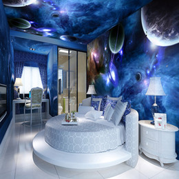 Wholesale Wood Space - Wholesale- Custom 3D Stereoscopic Star Planet Universe Space Planet Wall Paper Roll Living Room Bedroom Ceiling Mural Home Decor Wallpaper