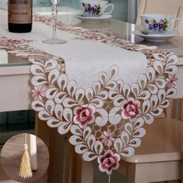 Wholesale Floral Table Runners - BZ370 New Embroidered Table Runner Polyester Floral Hollow Lace Microwave Oven Table Covers Home Wedding Party Decoration