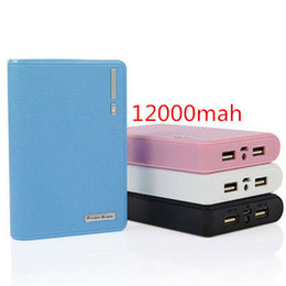 Wholesale external battery for ipad - 50pcs Power bank High Capacity 12000mAh Powerbank Pack 2 USB Portable external battery power supply For Mobile Phone Ipad Samsung HTC