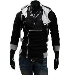 Wholesale Waffle Cotton Hat - 2016 Man's warm Hoodies Sweatshirt Oblique zipper hoodie 6 colors cotton Hoody jacket plus size M-6XL slim sports hoodies men