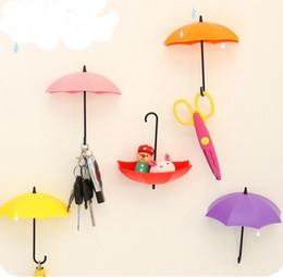 Wholesale Decorative Umbrellas Wholesale - 3 Pcs set Colorful Umbrella Wall Hook Key Hair Pin Holder Organizer Decorative