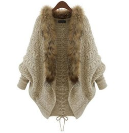 Wholesale Natural White Fur Cape - Wholesale- 2017 Autumn Winter Women Cardigans Sweater Shawls Big Wraps Bat Sleeve Knit Cardigan Fur Shawl Collar Sweater Poncho Cape Coat