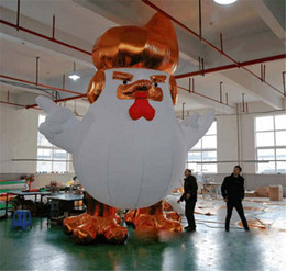 Wholesale Big Advertising - 33FT 10FT Giant Inflatable Gold Trump Rooster Trooster chicken model custom inflatable mascot advertising cartoon Bouncers playhouse