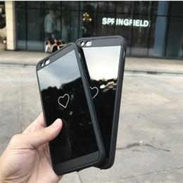 Iphone 6s peau noire en Ligne-Pour 7 7 Plus cas Noir Placage En Aluminium Miroir Cas Cadre Couverture Pour Iphone 6 6 s plus la peau De Luxe