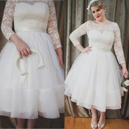 Wholesale Casual Tea Length Lace Dress - Newest 2016 Plus Size Wedding Dresses A Line Sheer Neck Lace Sleeves Casual Tea Length Garden Bridal Gowns Sexy Backless with Design