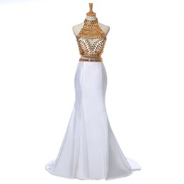 Wholesale Top Quality Satin Mermaid - Top Quality Crystals Two Piece Gold African Prom Dresses 2016 Real Photos High Neck Mermaid Evening Dresses by Satin
