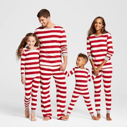 Wholesale family matching winter clothes - Matching family christmas pajamas striped nightwear baby kid adult clothes XMAS striped mama papa kids clothing romper 2-piece outfit gift
