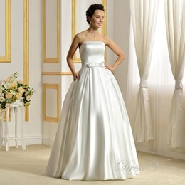 Wholesale Strapless Satin Bowknot Ivory - 2017 Noble Wedding Dresses White Luxury Satin Strapless Backless Bowknot Floor-Length Ball Gowns vestido de noiva Bridal Gowns free shipping