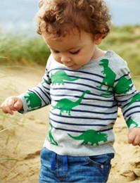 Wholesale Dinosaur Boy T Shirt - Funnygame17 NEW ARRIVAL boys Kids 100%Cotton Long Sleeve o-neck cartoon stripped dinosaur print T shirt boy spring autumn t shirt