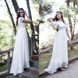 Wholesale Wedding Dress Short Lace Hem - Vintage Bohemian Wedding Dress 2016 Country Cheap Bridal Gowns Bateau Neck Short Sleeves Sexy Backless Asymmetrical Hem Lace Top Custom Made