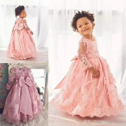 Wholesale Illusion Neckline Communion - Cute Baby Kids Communication Dress 2017 Long Sleeves With Bowknot Lace Toddler Pageant Gown Flower Girls Dresses For Wedding Jewel Neckline