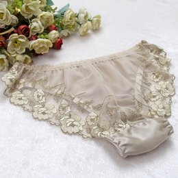 Wholesale High Quality Panties - Women's 100% Silk Bikinis Panties Silk Panties Women's G-strings Women Underwear Sexy Lace high quality sil02