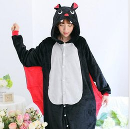 Wholesale Full Length Mink - (wholesale retail) mink flannel black bat animal conjoined pajamas cartoon autumn winter long sleeve coral household dress