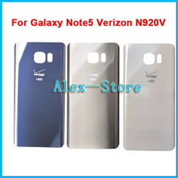 Wholesale Verizon Batteries - Back Glass Cover Housing Battery Door Panel Houainf For Galaxy Note 5 Verizon N920V Back Rear Housing Door Glass w Sticker