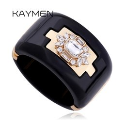 Wholesale Cuff Rings Wholesale - Wholesale-New Arrival Trendy Gold Plated Inlay Rhinestone Resin Bracelets Gold Plated Bangle Bangles for Women BR-03225