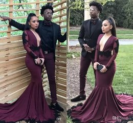 Wholesale Girls White Dress Shirts - Burgundy Mermaid Long Sleeves Prom Dresses 2018 New Sexy Backless Lace Sequins Evening Gowns 2K18 For Black Girl Arabic Prom Gowns