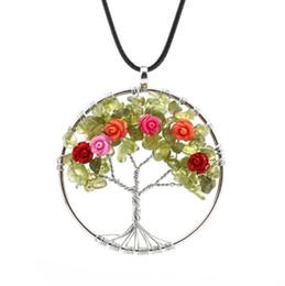 1 pc Femmes Vert Pierre De Quartz Puces Rose Fleur Arbre De Vie Pendentif Collier Pierre Naturelle Bijoux ? partir de fabricateur