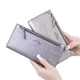 Wholesale Wristlet Purse Designer - 2017 Designer Zipper Women Leather Slim Long Wallet Female Purse Clutch Thin Wristlet Phone Coin Credit Card Holder Dollar Price