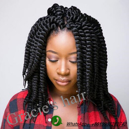 Wholesale Blonde Synthetic Hair Extensions - Havana Mambo Twist Braids 60gram 12inch Synthetic braiding hair Crochet Braids Hair Extension 12strands Piece Black Brown crochet Braid Hair