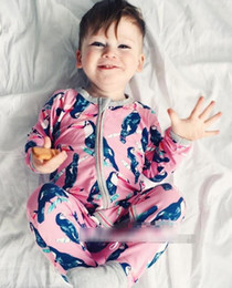Wholesale Boy Cothes - Spirng Autumn Ins Infant Baby Rompers Kids Long Sleeve Bird Printed Cotton One-piece Rompers Children Overalls Boys Girls Climb Cothes