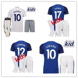 Wholesale Boy Top Quality - IN STOCK WITH SOCKS Top quality 2017 2018 Everton KIDS kit home away soccer jersey 17 18 Everton LUKAKU MIRALLAS LENNON BARKLEY shirt